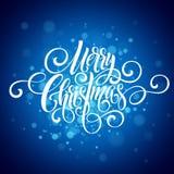 För handskriftskrift för glad jul bokstäver Jul som hälsar bakgrund med snöflingor också vektor för coreldrawillustration Arkivfoto