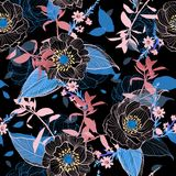 För handteckning för mörker trädgårds- blomma botanisk härlig linje Flor stock illustrationer