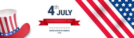 För hattsjälvständighetsdagen för Förenta staterna flagga färgat Juli för ferie 4 baner royaltyfri illustrationer