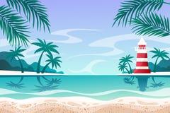 för havsseascape för blåa rocks sommar för sky Fyr också vektor för coreldrawillustration royaltyfri illustrationer