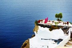 för havsterrass för hotell lyxig sikt royaltyfri foto
