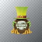 För helgonpatricks för vektor lycklig etikett eller affisch för dag med den gröna hatten, lyckliga växter av släktet Trifolium oc Royaltyfri Foto