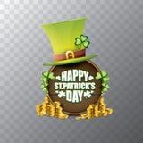 För helgonpatricks för vektor lycklig etikett eller affisch för dag med den gröna hatten, lyckliga växter av släktet Trifolium oc Arkivfoto