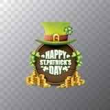 För helgonpatricks för vektor lycklig etikett eller affisch för dag med den gröna hatten, lyckliga växter av släktet Trifolium oc Royaltyfri Bild