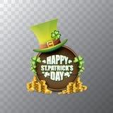 För helgonpatricks för vektor lycklig etikett eller affisch för dag med den gröna hatten, lyckliga växter av släktet Trifolium oc Royaltyfri Fotografi