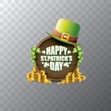 För helgonpatricks för vektor lycklig etikett eller affisch för dag med den gröna hatten, lyckliga växter av släktet Trifolium oc Arkivbilder