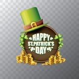 För helgonpatricks för vektor lycklig etikett eller affisch för dag med den gröna hatten, lyckliga växter av släktet Trifolium oc Arkivfoton