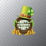 För helgonpatricks för vektor lycklig etikett eller affisch för dag med den gröna hatten, lyckliga växter av släktet Trifolium oc Fotografering för Bildbyråer
