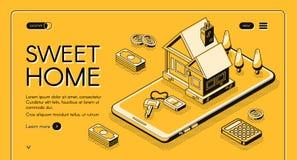 För hem- online-rastrerad linje köpvektor för fastighet royaltyfri illustrationer