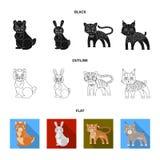 För hemhjälp, lös och annan rengöringsduksymbol för djur, i svart, lägenhet, översiktsstil Zoo leksaker, barn, symboler i uppsätt stock illustrationer
