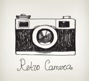 För hipsterfoto för vektor retro hand dragen kamera Arkivfoton