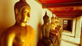 För hipsterstil för tappning retro effekt filtrerad bild av den guld- statyn för Buddha och thai konstarkitektur i watpho Arkivbilder