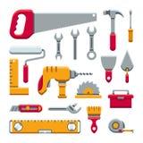 För hjälpmedelsats för maskinvara industriella symboler för vektor för lägenhet vektor illustrationer