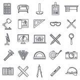 För hjälpmedelsymboler för arkitekt materiell uppsättning, översiktsstil royaltyfri illustrationer