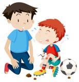 För hjälpmen för ung man spelare för fotboll royaltyfri illustrationer