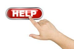 För hjälpservice för manlig hand driftig stor knapp Arkivbild