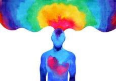 För hjärnande för mänsklig mening energi att förbinda till universummakten vektor illustrationer