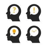 För hjärnidé för mänskligt huvud profil Symbol för illustration för mening för folk för personaffärsfråga idérik stock illustrationer