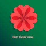 För hjärtablomma för vektor röd bakgrund Arkivbild