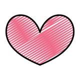 För hjärtaform för klotter trevligt symbol för förälskelse vektor illustrationer