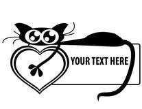 för hjärtaholding för baner rolig kattunge Arkivfoton