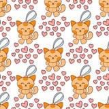 För hjärtamode för katt hemhjälp för kattdjur för tecken för älskvärd för lapp för klistermärkear illustration för vektor gullig  royaltyfri illustrationer