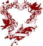 för hjärtaprydnad för cupid filigree red stock illustrationer