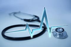 för hjärtatakt för tolkning 3d linje på en medicinsk bakgrund Royaltyfria Bilder