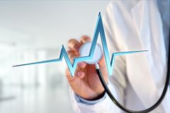 för hjärtatakt för tolkning 3d linje på en medicinsk bakgrund Royaltyfria Foton