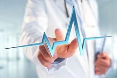 för hjärtatakt för tolkning 3d linje på en medicinsk bakgrund Arkivfoton