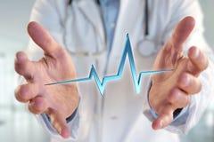för hjärtatakt för tolkning 3d linje på en medicinsk bakgrund Royaltyfri Fotografi