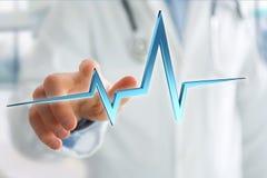 för hjärtatakt för tolkning 3d linje på en medicinsk bakgrund Royaltyfri Foto