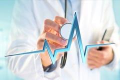för hjärtatakt för tolkning 3d linje på en medicinsk bakgrund Arkivbild