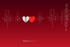 För hjärtatakter för nedgång förälskad design för kardiogram Arkivfoto