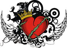 För hjärtatatuering för heraldisk grip röd gradbeteckning för vapen royaltyfri illustrationer