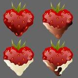 För hjärtauppsättning för fyra jordgubbe förälskelse för choklad Arkivbild