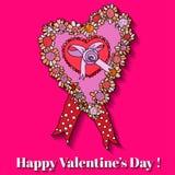 För hjärtavalentin för rosa färger pappers- kort för dag. Arkivbild