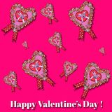 För hjärtavalentin för rosa färger pappers- kort för dag. Royaltyfri Bild