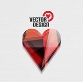 För hjärtavektor för vektor 3d glansig bakgrund Royaltyfria Bilder