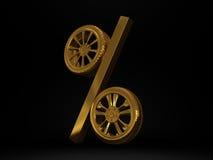 För hjulförsäljning 3d för bil guld- tolkning Arkivfoton