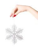 för holdingferie för stor hand kvinna för snowflake Fotografering för Bildbyråer