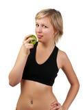 för holdingkvinna för äpple härligt grönt barn Arkivbilder