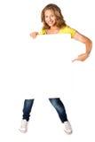 för holdingkvinna för affischtavla blankt lyckligt barn Arkivfoto