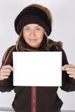 för holdingkvinna för blankt kort barn Fotografering för Bildbyråer