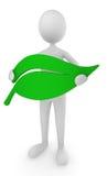 för holdingsymbol för miljö vänlig man för leaf stock illustrationer