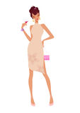 för holdingwine för glamour glass kvinna Arkivfoto