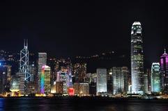 för Hong Kong för hamn 2009y platser victoria natt Arkivbilder