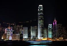 för Hong Kong för hamn 2009y victoria natt sikt Royaltyfri Fotografi