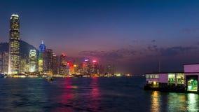 För Hong Kong kowloon för solnedgånghimmelbelysning porslin för schackningsperiod för tid för panorama 4k fjärd lager videofilmer