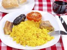 för hornomeny för al arroz lagad mat rice för ugn Fotografering för Bildbyråer